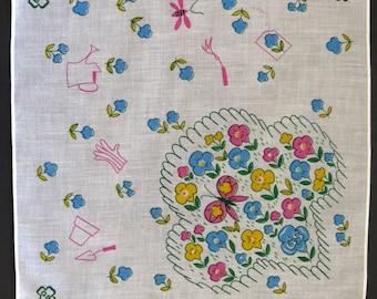 Vintage Girl Scout Handkerchief - 1970s Hankie Hanky - Flower Garden - Girl Scout Trefoil - Pink Yellow Blue - Collectible - Gift