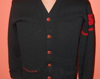 Vintage Athletic Sweater Black Red Named Wool Letterman Cardigan Art Knitting Mills Detroit