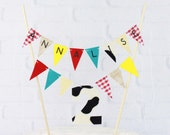 Farm Theme Personalized 2nd Birthday Cake Bunting Banner, Red Yellow Aqua Cake Topper, Cow Print, Gingham and Burlap Custom Cake Centerpiece