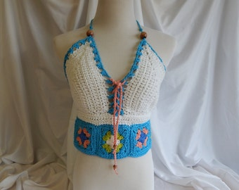 Crochet Halter Top - Sexy Lace Up Boho Festival Top With Beads - White Granny Square