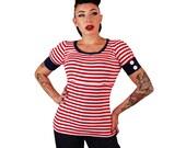Puff Sleeve Cuff Top Red/White Striped