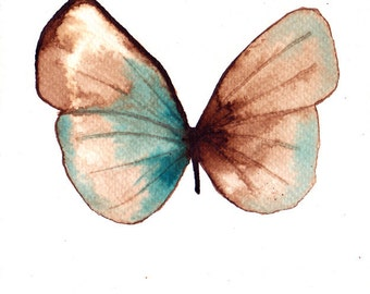 pale brown, white gold and  turquoise butterfly. ORIGINAL ART watercolour painting
