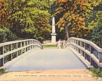 Concord, Massachusetts, Old North Bridge - Linen Postcard - Unused (OO)