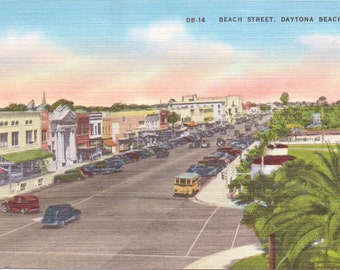 Daytona Beach, Florida, Beach Street - Linen Postcard - Unused (UU)