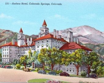 Colorado Springs, Colorado, Antlers Hotel  - Linen Postcard - Unused (GG)