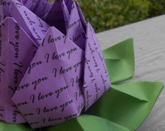 I LOVE YOU Purple Lotus. Unique Valentine Gift, Wedding Decoration, Favor. Anniversary, Birthday Gift. Just Because. Under 10