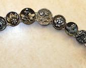 Antique Silver Button Bracelet