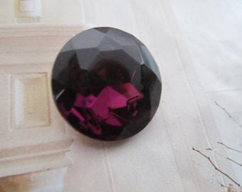 Vintage Czech Amethyst 20mm Doublet Glass Gems 2Pcs.