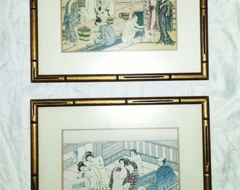 Vintage 1950's Pair of JAPANESE EROTIC Woodblock Prints, TOYKO Bathhouse