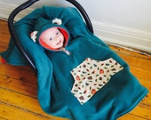 Car Seat Poncho Cape (Teal Cardinals) Reversible Kids Hooded Fleece Poncho Cape with ears