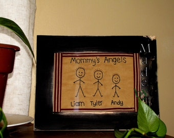 Primitive Stitchery With Your Childrens Names Stick Family Portrait Country Farmhouse