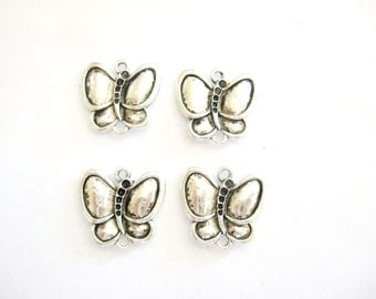 Butterfly Charms, Butterflies, Pewter Butterfly Charms, Silver color Butterfly Charms, Charms, Lead free charms, 4 Butterfly charms,Gemsalad