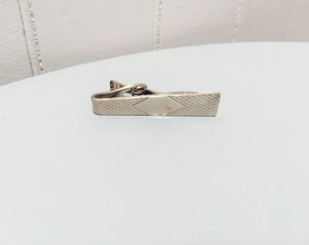 Vintage 1970s Silver Diamond Detail Tie Clip