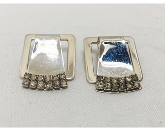 Vintage 1970s Silver & Rhinestone Square Clip On Earrings