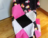 Baby Blanket - Cuddle Dots and Flannel - Pretty Penguins