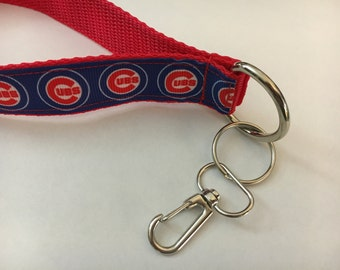 Chicago Cubs Inspired Lanyard Key Chain Cubbies Ribbon Fob (C-103)