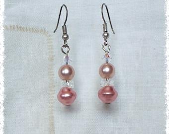 Faux Pearl and Swarovski Drop Earrings - Pink