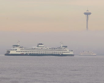 Seattle Fog Photo, Ferry photo, Foggy scene, Home decor, Wall decor, Cottage decor, Seattle Scene, Space Needle, Puget Sound, Waterscape