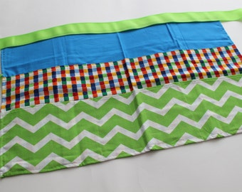 Classroom Apron- Chevron and Gingham (green & blue)