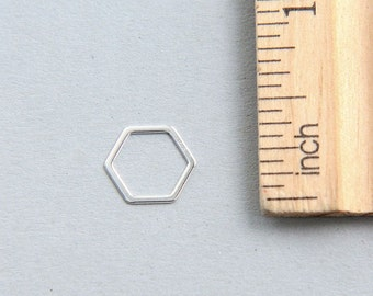 925 Sterling Silver Hexagon Charm, Sterling Silver Hexagon charm, Geometric charm, Hexagon Charm, Sterling Silver Hexagon, 11mm ( 1 piece )