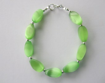 Lime Color Bracelet with Sterling Silver Beads