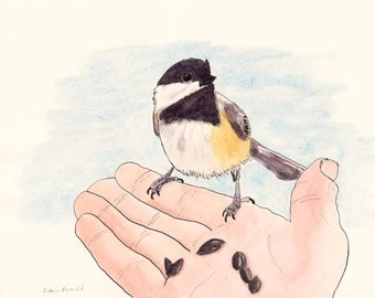 Chickadee Eating from a Hand, 8x 10 Pen and Ink and Watercolor,whimsical,nursery art, wall art,animal,bird,original, not a print, wildlife