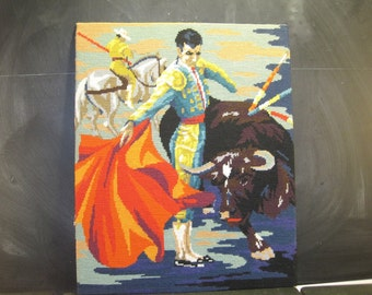 Large Vintage Needlepoint Matador Spanish Bullfighter Bull