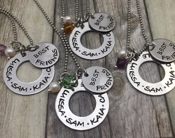 best friends necklaces hand stamped stainless steel