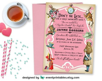Alice in Wonderland Invitation, Bridal Shower Invite, Baby Shower, Birthday Party, Tea Party, Printable Digital File by Event Printables