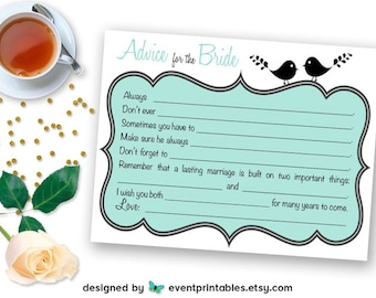 Printable Bridal Shower Mad Libs, Lovebird Advice for the Bride Card, Bridal Shower Game, Aqua Blue INSTANT DOWNLOAD by Event Printables