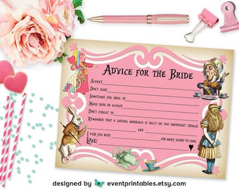 Printable Alice in Wonderland Mad Libs, Pink Bridal Shower Game, Tea Party Advice for Bride Card Guest Lib, DIGITAL FILE by Event Printables