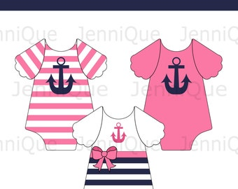 Printable Anchor Onesie, Nautical Theme Baby Shower, Pink and Navy Nautical Onesie Banner, Onesie Bunting, Girl Baby Shower Idea