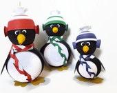 Penguin Christmas Ornament, Christmas Decoration, Set Customizable Family Christmas Holiday Home Decor
