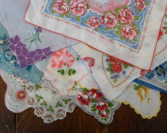 Handkerchief 10 Floral Hankies, Destash Floral Hankie Lot, 10 Flower Handkerchiefs