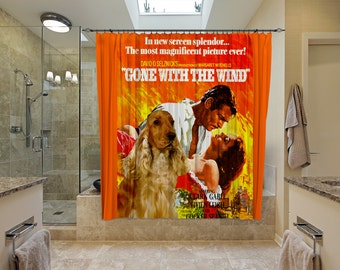 English Cocker Spaniel Art Shower Curtain, Dog Shower Curtains, Bathroom Decor - Gone with the Wind Movie Poster