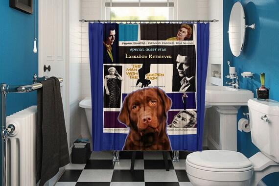 Labrador Retriever Art Shower Curtain, Dog Shower Curtains, Bathroom Decor - The Man with the Golden Arm Movie Poster by Nob...