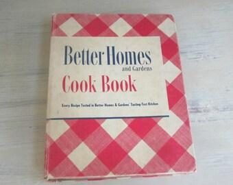 BHG Better Homes and Gardens 1947 Cookbook 14th Printing , Vintage Cookbook  , BHG Red Check Cookbook , Vintage Recipes