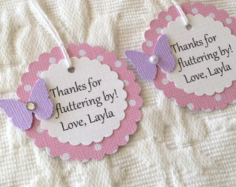 Personalized Thanks For Fluttering By! Butterfly Tags - Pink Polka Dot Butterfly Thank you Tags - Birthday Favor Tag
