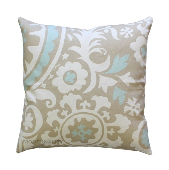 Powder Blue Decorative Pillows : Accent Pillow Suzani Powder Blue Pillow by ModernalityHomeDecor