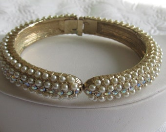Vintage Faux Pearl and AB Rhinestone Clamper Bracelet ~ Bride Jewelry