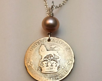 Sixpence necklace - Coin necklace - British - lucky wedding six pence - lion necklace - Silver coin - Antique coin - England - six pence
