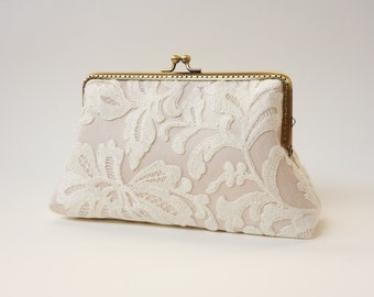 Champagne Ivory Lace Clutch / Wedding Party / Gift ideas / Vintage Inspired  - Ready To Ship