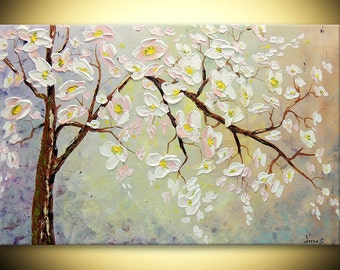 Cherry Tree ORIGINAL Modern Hand painted Abstract Fine Art Deco Impasto texture Palette knife oil gift for her wedding Painting by IraSher