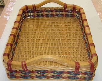 Large Handmade SERVING TRAY BASKET with Wood Handles and Red & Blue Slats Throughout - Unique!