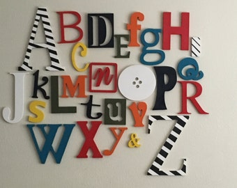 Hand Painted Alphabet Set, Finished and ready to hang on Your nursery wall! Choice of Colors, Designer Look, ABC Wall, Baby Shower Gift!
