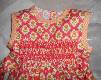 Size 12 Months, Smocked Baby Girl Bubble, Lovely Coral Cotton Print