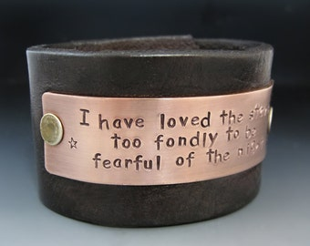 Custom Leather Cuff Bracelet with Copper or Brass Metal Plate /  Personalized Wide Leather Cuff / Anniversary Gifts / Inspirational Gifts