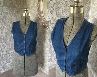 Vintage 1970's Cropped Denim Vest Medium