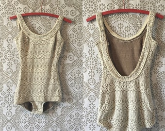 Vintage 1950's 60's White and Tan Stretch Knit Swimsuit XS