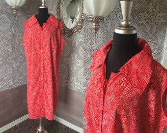 Vintage 1950's 60's Red Floral Print Cotton House Dress XXL